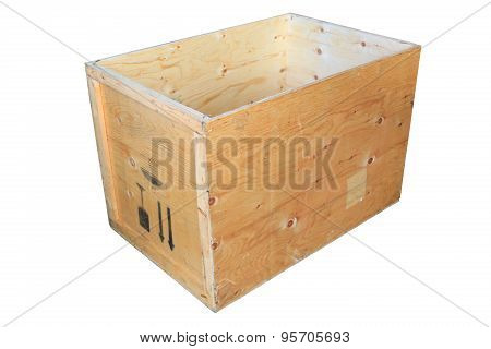 Old wooden box isolated on white background, wooden box for pack product