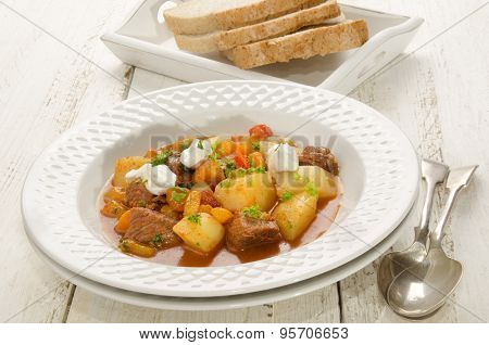 Authentic Hungarian Goulash On A Plate