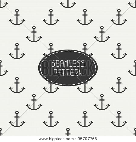 Geometric line monochrome vector seamless retro pattern with hipster anchor. Wrapping paper. Scrapbo