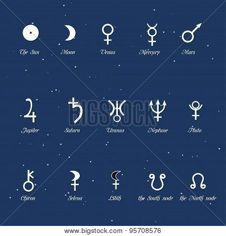 Astrological simbols, set of the planet's signs
