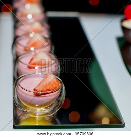 Strawberry Panna Cotta With Strawberry Topping