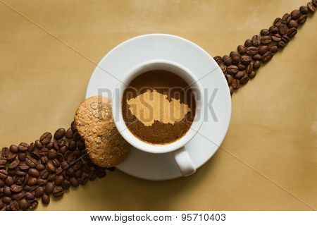 Still Life - Coffee With Map Of Czech Republic