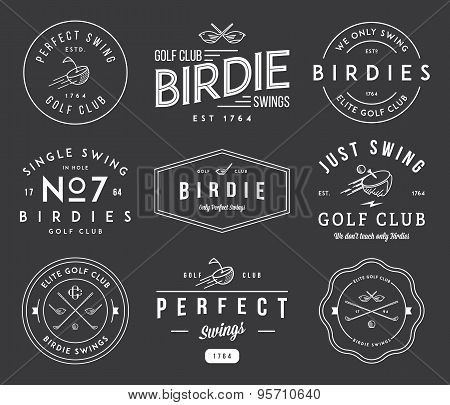 Golf Badges And Labels White On Black