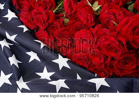Roses On American Flag. Memory