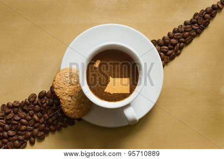 Still Life - Coffee With Map Of Equatorial Guinea