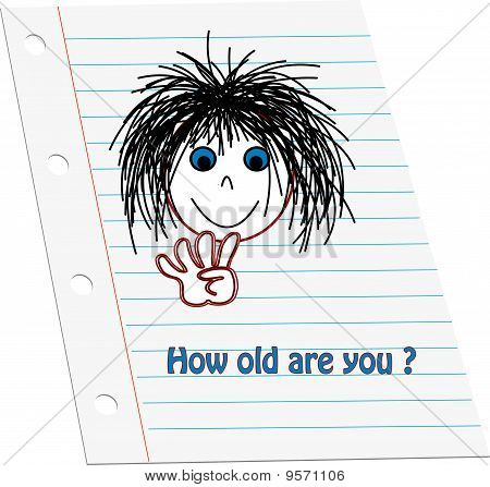 Cartoon kids face holding up four counting fingers to show age with words 'How old are you' on note