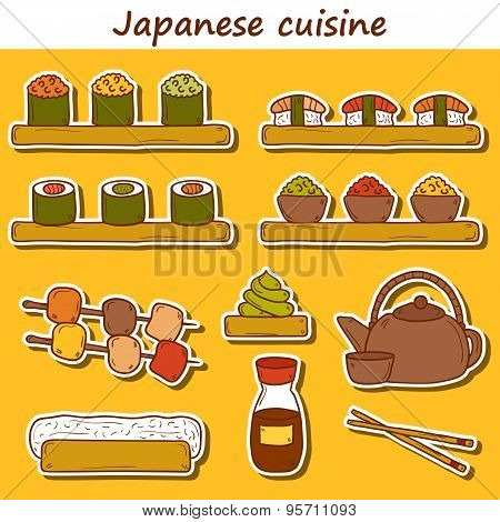 Set of cute cartoon hand drawn stickers on japanese cuisine theme: tea pot, rolls, sushi, wasabi, ca