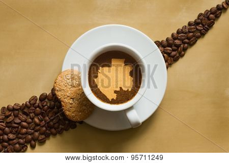 Still Life - Coffee With Map Of Gabon