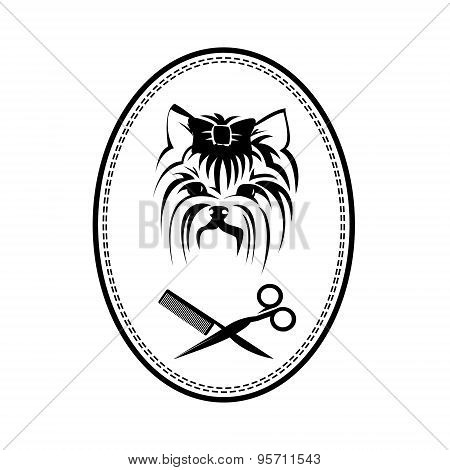 Pet grooming logo with Yorkshire terrier dog, hairbrush and scissors, doggy sign for pet salon or st