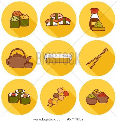 Set of cute cartoon hand drawn icons with shadows on japanese cuisine theme: tea pot, rolls, sushi,