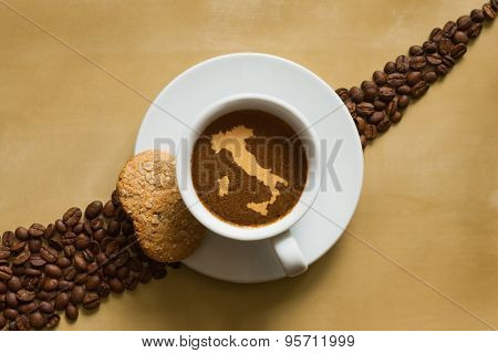 Still Life - Coffee With Map Of Italy