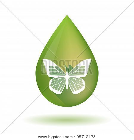 Olive Oil Drop Icon With A Butterfly