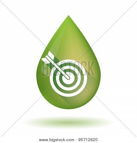 Olive Oil Drop Icon With A Dart Board