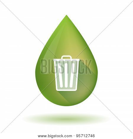 Olive Oil Drop Icon With A Trash Can
