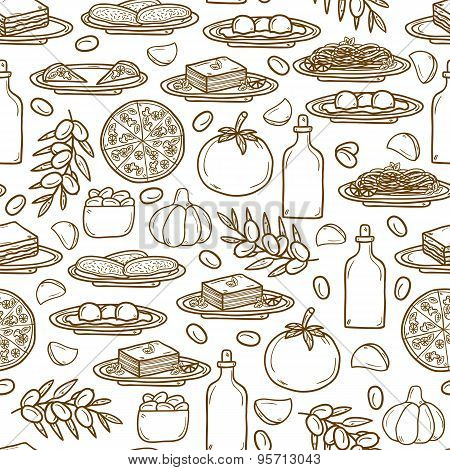 Seamless background with hand drawn objects on italian food theme: pizza, pasta, tomato, olive oil,