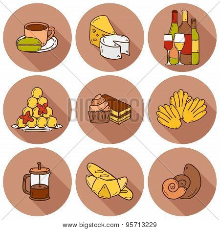 Set of cartoon cute hand drawn icons with shadows on french cuisine theme: cheese, wine, macaroon, c