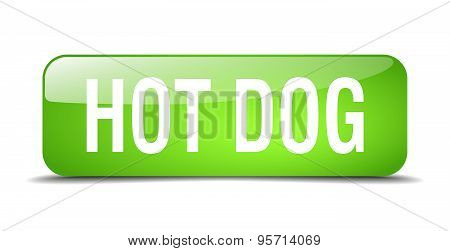 Hot Dog Green Square 3D Realistic Isolated Web Button