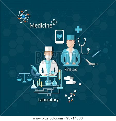 Medicine medical doctors pharmaceuticals drugs pills science laboratory stethoscope microscope study