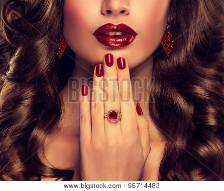 Luxury fashion style, nails manicure, cosmetics ,make-up and curly hair
