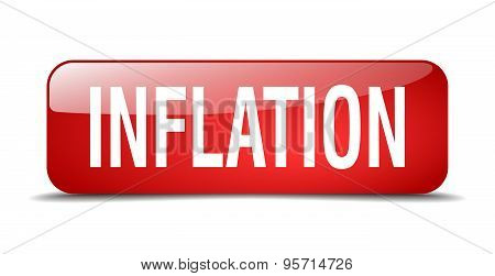 Inflation Red Square 3D Realistic Isolated Web Button