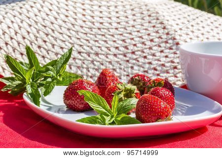 Red Strawberries And  Sprigs Of Mint