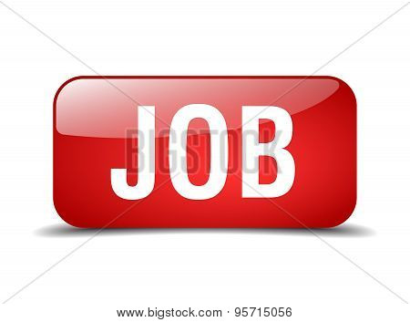 Job Red Square 3D Realistic Isolated Web Button