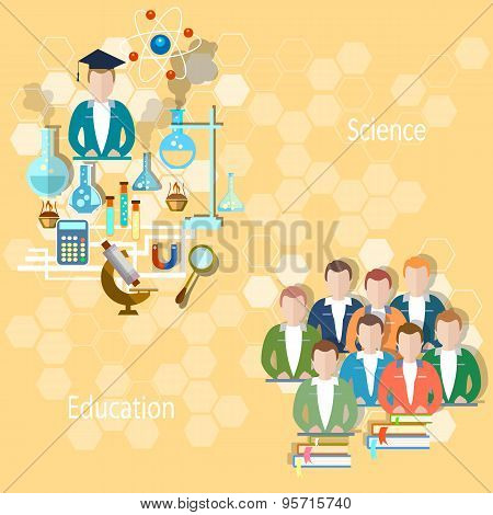 Study And Education Concept: Pupils, Teachers, School, University, College, Lecture, Lesson