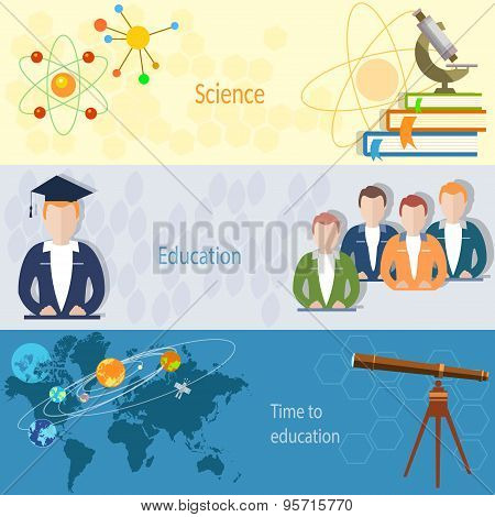 Education Concept: Students, Teachers, Chemistry, Physics, Microscope, Online Training