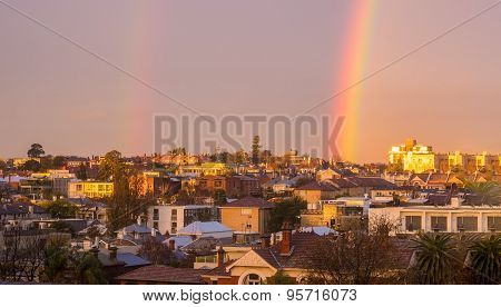 Melbourne Inner City Suburb With Rainbow