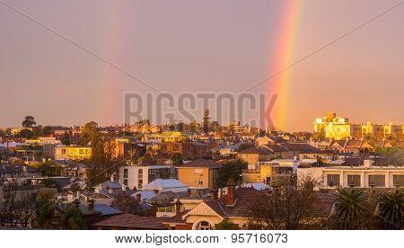 Melbourne Inner City Suburb With Rainbow