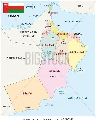 Oman  Map With Flag