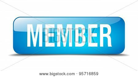 Member Blue Square 3D Realistic Isolated Web Button