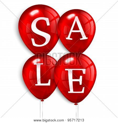 Red flying party balloons with text SALE.