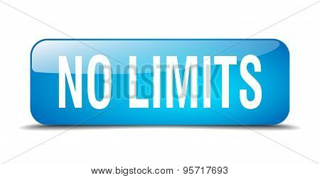 No Limits Blue Square 3D Realistic Isolated Web Button