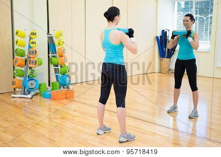 Beautiful Slim Woman Working Out In Gym