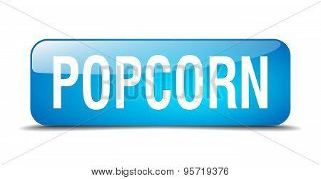 Popcorn Blue Square 3D Realistic Isolated Web Button