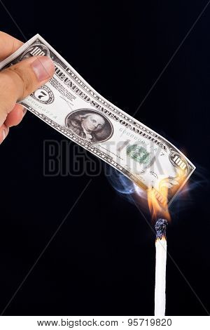 Burning Dollar Banknotes