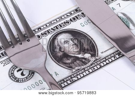 Dollar Banknote Under Knife And Fork