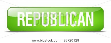 Republican Green Square 3D Realistic Isolated Web Button