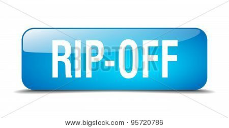 Rip-off Blue Square 3D Realistic Isolated Web Button