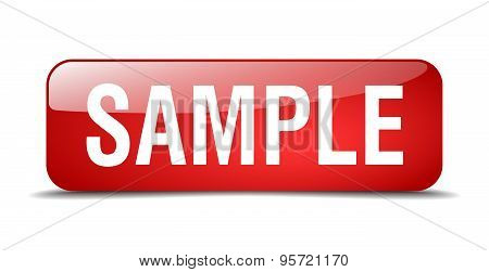 Sample Red Square 3D Realistic Isolated Web Button