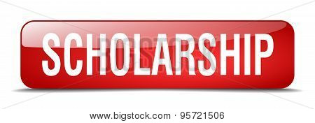 Scholarship Red Square 3D Realistic Isolated Web Button