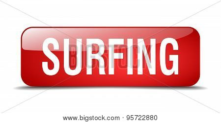 Surfing Red Square 3D Realistic Isolated Web Button
