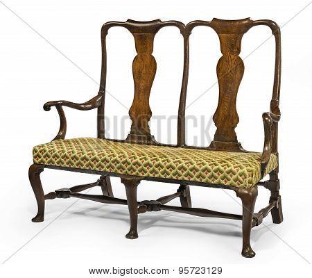 Sofa 2 Seater Settee Wood En Framed Bright Upholstery