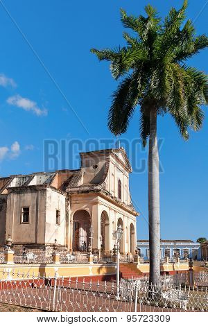 A View Of Plaza Mayor With Santisima Church In Trinidad, Cuba. Unesco World Heritage Site.