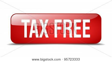Tax Free Red Square 3D Realistic Isolated Web Button