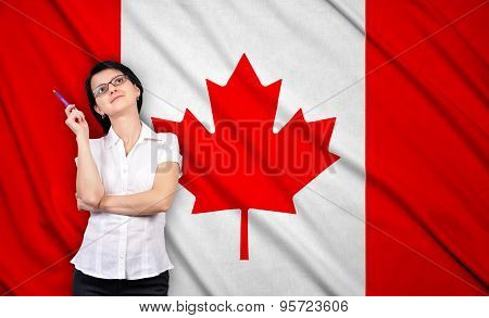 Businesswoman And Canada Flag