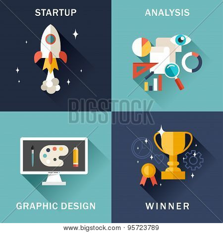 Set Of Flat Vector Business Illustrations. Startup, Analysis, Graphic Design, Winner