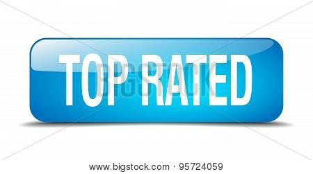 Top Rated Blue Square 3D Realistic Isolated Web Button