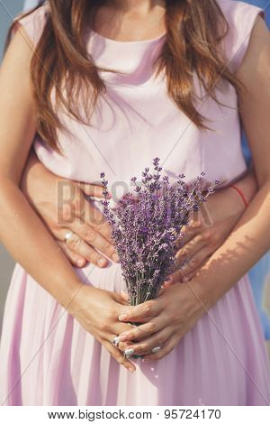 Young couple in the lavender fields